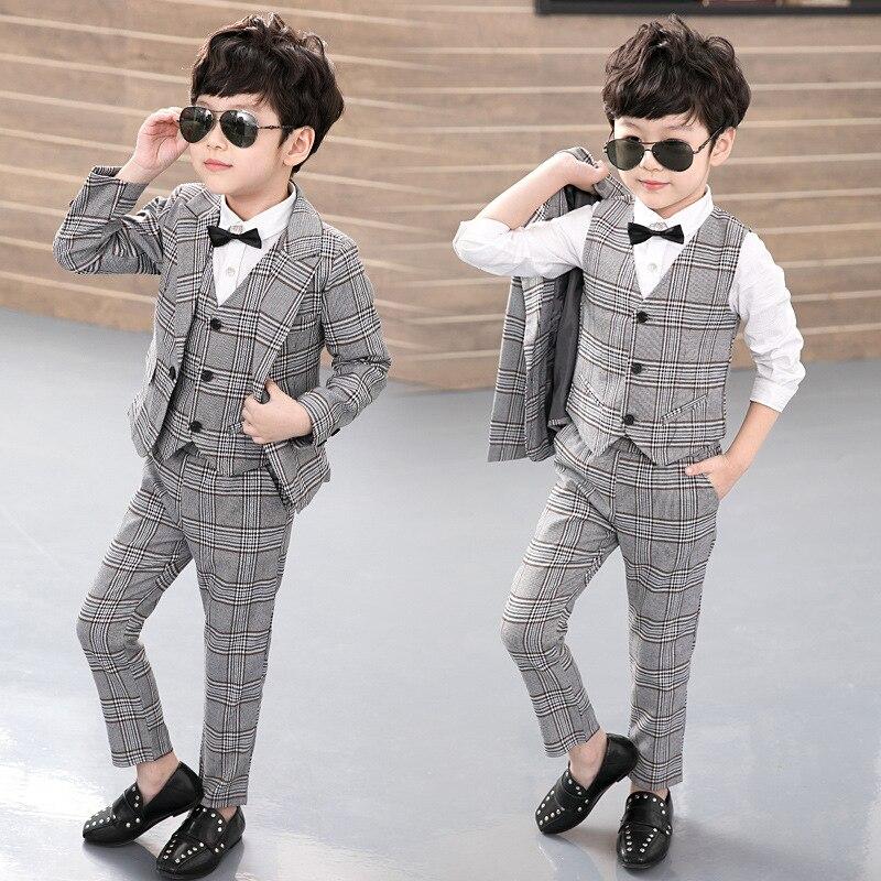 Блейзеры для мальчиков, комплект из 3 шт. (куртка + жилет + штаны), детский клетчатый костюм для мальчиков, английский стиль, деловой Свадебный