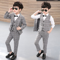 Boy Blazers Set 3pcs(Jacket+Vest+Pants) Kids Plaid Suit for Boys England Style Boy Formal Wedding Blazer Suit Performance Suit