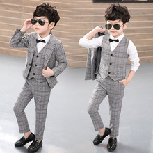 Boy Blazers Set 3pcs(Jacket+Vest+Pants) Kids Plaid Suit for Boys England Style Boy Formal Wedding Blazer Suit  Performance Suit 2019 boy blazer suits 3pcs jacket vest pants kids wedding suit flower boys formal tuxedos school suit kids spring clothing set