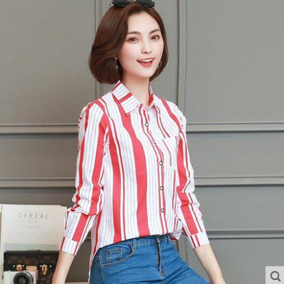 a2853cf1c47 Vêtement pour femme Long hauts 2019 bleu blanc rouge chemise rayée en  mousseline de soie femmes de mince à manches longues chemises femelle OL  travail ...