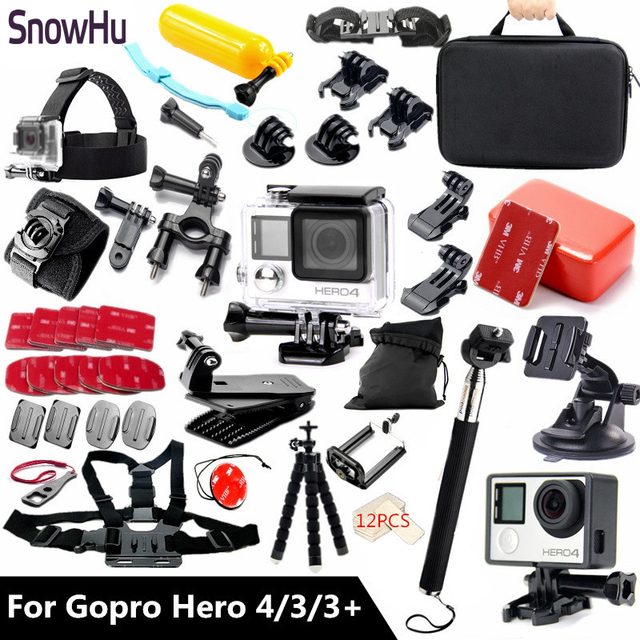 SnowHu For Gopro Accessories set Waterproof Housing Case Suitable for Go pro Hero 4 hero 3 hero 3+ with Black Edition TZ60