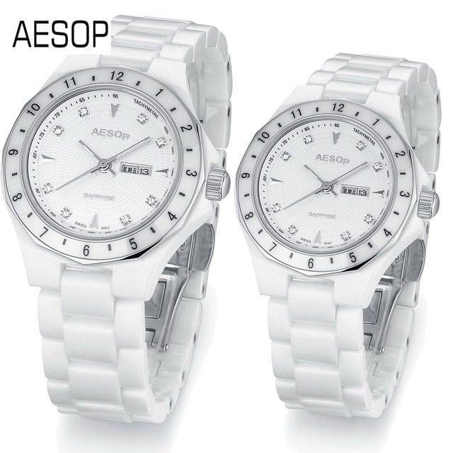 AESOP Fashion Sport Ceramic Watch lovers' best gift Auto Date week Couples wristwatches White diamond Dial  free shipping 9909