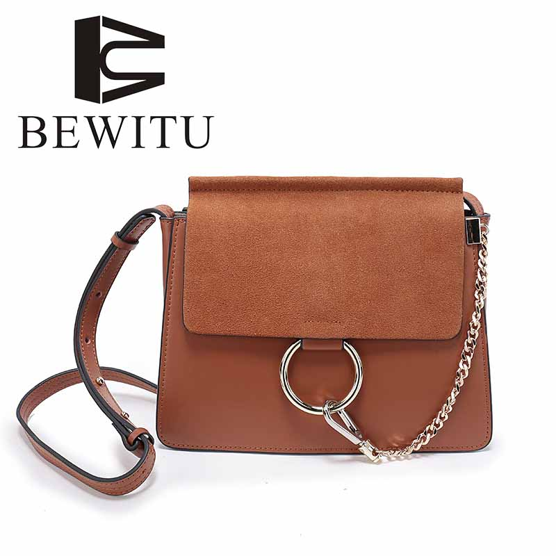 Scrub leather small square bag round shoulder Messenger bag fashion handbags leather chain retro Europe and the United States 2017 fashion new handbags sweet lady candy color plush small round bag high quality soft cute shoulder bag chain messenger bag