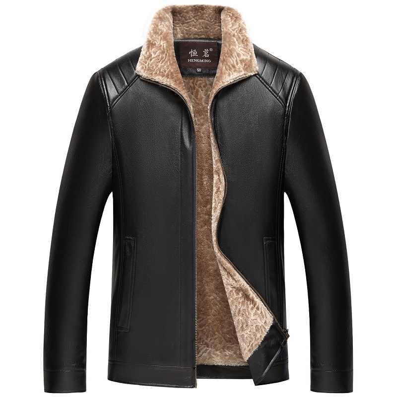NIANJEEP חורף עור מעיל 2018 גברים של אופנה מזדמן מעילי דש PU שחור חום רוכסן פו פרווה גברים באיכות גבוהה מעיל 4XL