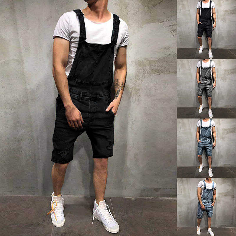 2019 Summer Fashion Men Short Ripped Jeans Jumpsuits  Street Distressed Denim Bib Overalls Oversize Mens Casual Suspender Pant