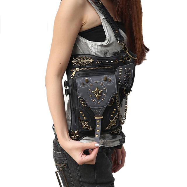 15c688c360d55 Punk PU Leather Rivet Unisex Hip Leg Fanny Bag Rock Chains Motorcycle Rider  Messenger Shoulder Cross