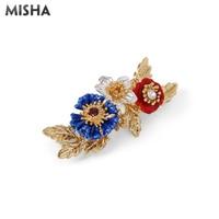 MISHA Enamel Pin Simple Beauty Brooch For Women Brooch Blue Red Flowers Enamel Glaze Handmade Jewelry For Ladies Gift L963