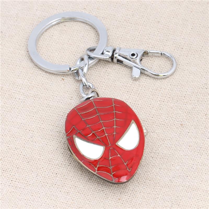 Wholesale Spider Man Marks Pocket Watch Pendant Key Chains Movies Jewelry YSK813