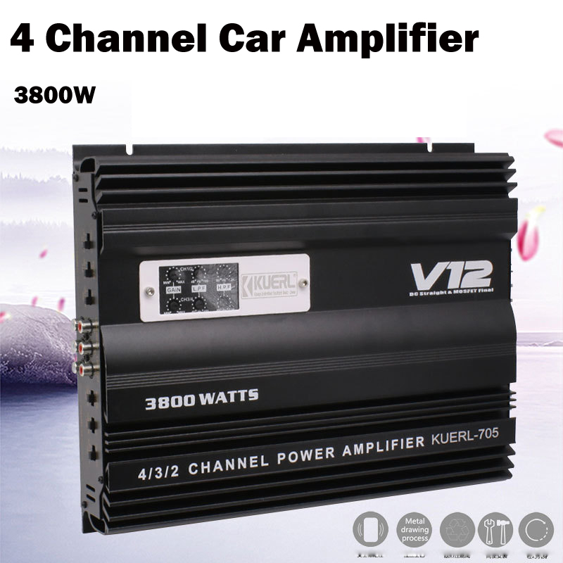 High Power Car Amplifier 3800W 4 Channel Stereo Amp Speaker F 4 Door Car Speaker Subwoofer Auto Car Audio Super Power Amplifier