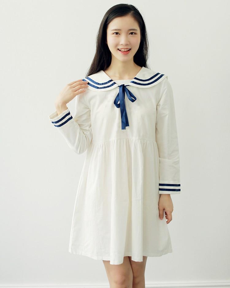 b50f469df6 Cute Dresses Japan Clothes Hot Women Peter Pan Collar Short Sleeve Casual  Girl Preppy Style A Line Slim Waist Blue Striped DressUSD 13.97 piece