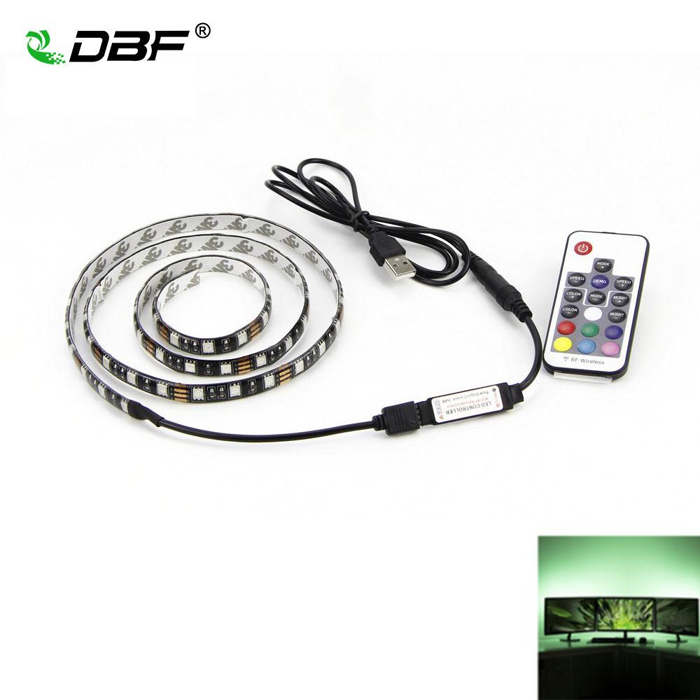 [DBF] USB RGB LED 5050 flexible adhesivo Cintas multicolor cambiante Iluminación kit para pantalla plana HDTV LCD PC de escritorio Monitores