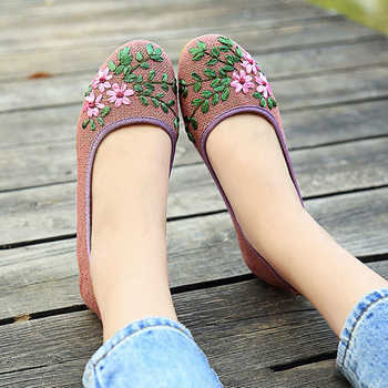2019 Fashion Women Ballet Flats Shoes Woman Espadrilles Ladies Slip-On Casual Shoes Breathable Walking Embroidered Flat Shoes