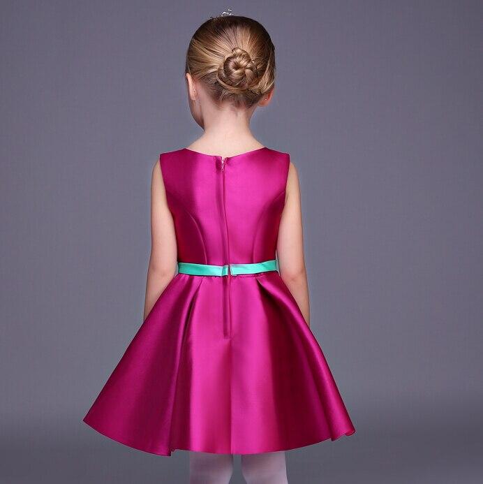 2016 New Flower Girl Dresses Satin A-Line Party Pageant Communion Dress Little Girls Kids/Children Princess Dress for Wedding