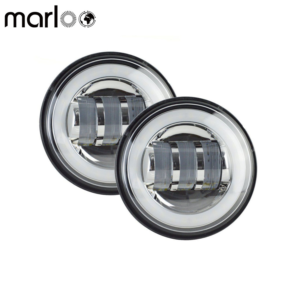 Marloo 4.5 4 1/2 Inch LED Fog Passing Lamp White Red Green Blue Pink Yellow DRL Halo Matching Harley Touring 7Inch Headlight