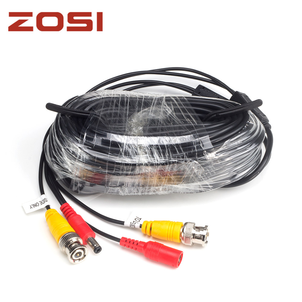 ZOSI 18.3m CCTV Power Video BNC + DC plug cable for CCTV Camera and DVR system Coaxial Cable Black Color  50pcs 2 pole bnc dc male plug for color monitor video cctv power plug terminals