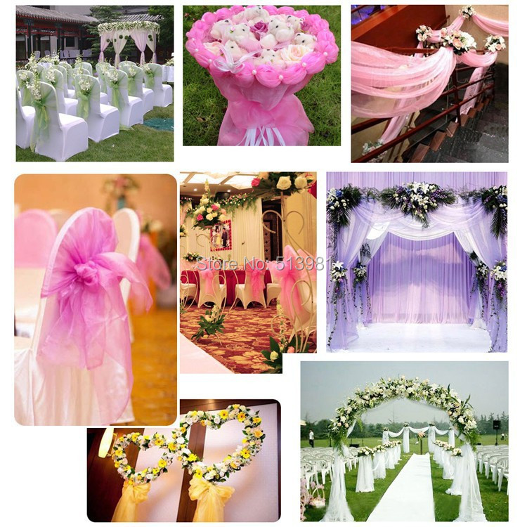 Champagne 10M135m Organza Fabric Wedding Decoration Table Top Curtain Party Chair Sash Bow Runner Swag Skirt In DIY Decorations From