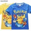 Verano niños de los niños Pone en Cortocircuito las camisetas de algodón Pokemon Va chicos girll remata camisetas camisetas para 3-9años niños bebés ropa SAILEROAD