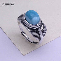 CSJ Natural blue larimar rings sterling silver feather women femme lady Wedding Engagement party Gift feather Fine Jewelry