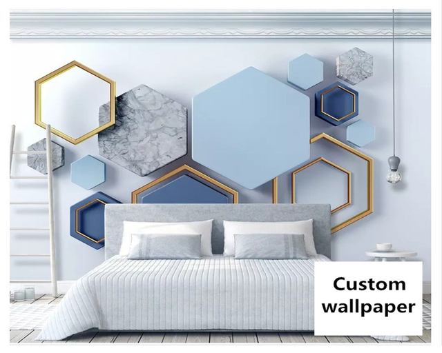 beibehang New fashion personality wallpaper 3d hexagonal mosaic modern minimalist geometric TV background wall papers home decor