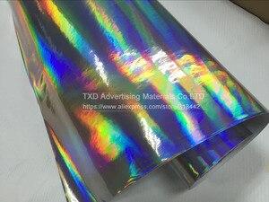 Image 5 - Премиум Серебряная Лазерная пленка для автомобиля, голографическая Радужная наклейка для стайлинга автомобиля, черная, серебристая Хромовая виниловая пленка, образец, бесплатная доставка