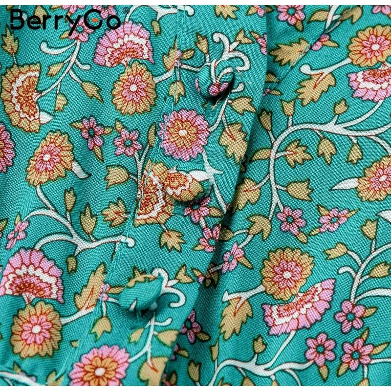 BerryGo women dresses Bohemian dresses print summer dress Short sleeve ruffled long maxi dress v-neck drawstring ladies vestidos 6