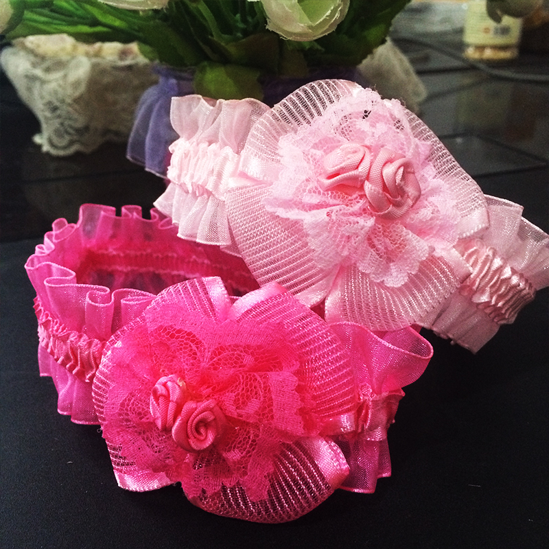 1 Pcs/lot  New Double Rose Flower Headbands Fashion Gifts Headband Hair Wear Lace Accessories