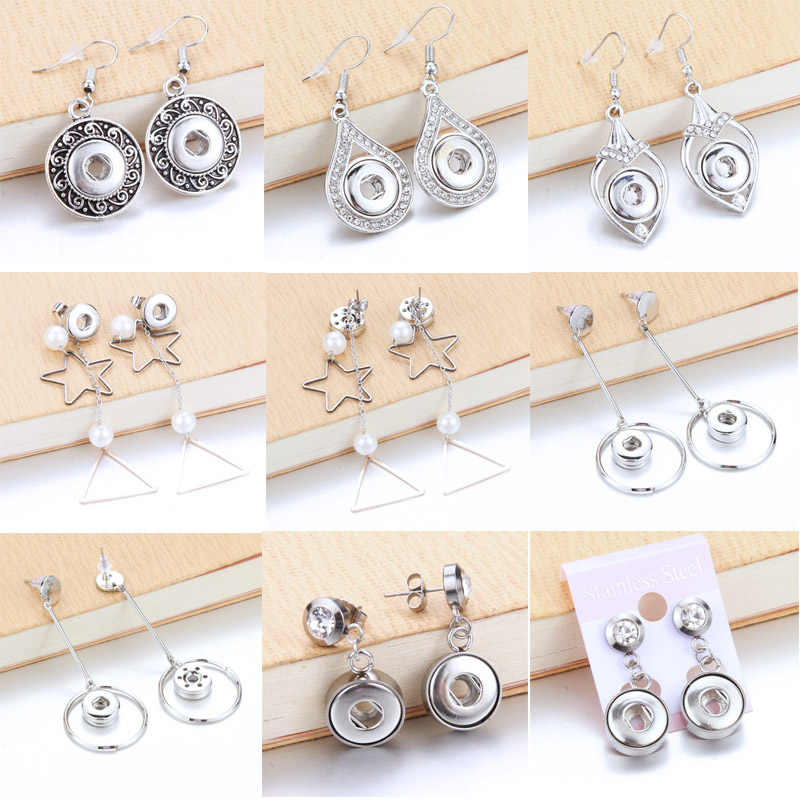 Anting-Anting Fashion Perhiasan 12 Mm Metal Kristal Berlian Imitasi Tombol Jepret Anting-Anting Tombol Anting-Anting Fashion Perhiasan Wanita