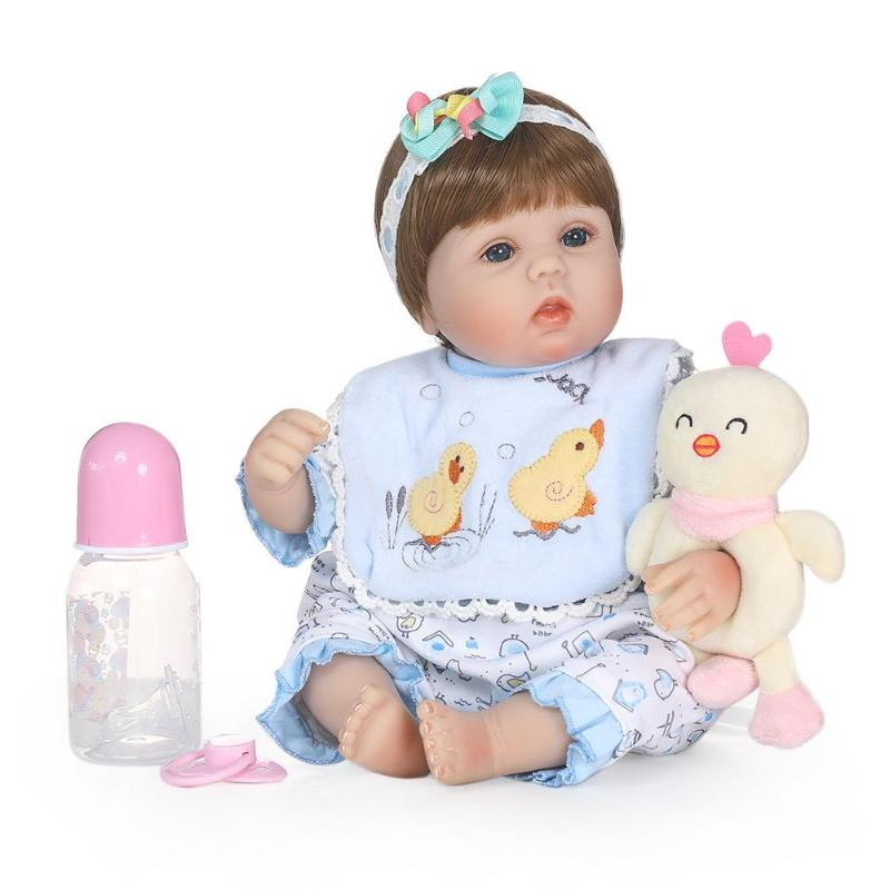 Simulation Reborn Baby Dolls Waterproof Soft Silicone 3D Cute Lifelike Baby Dolls Set with Cloth Kids Sleeping Accompany Toy цена 2017