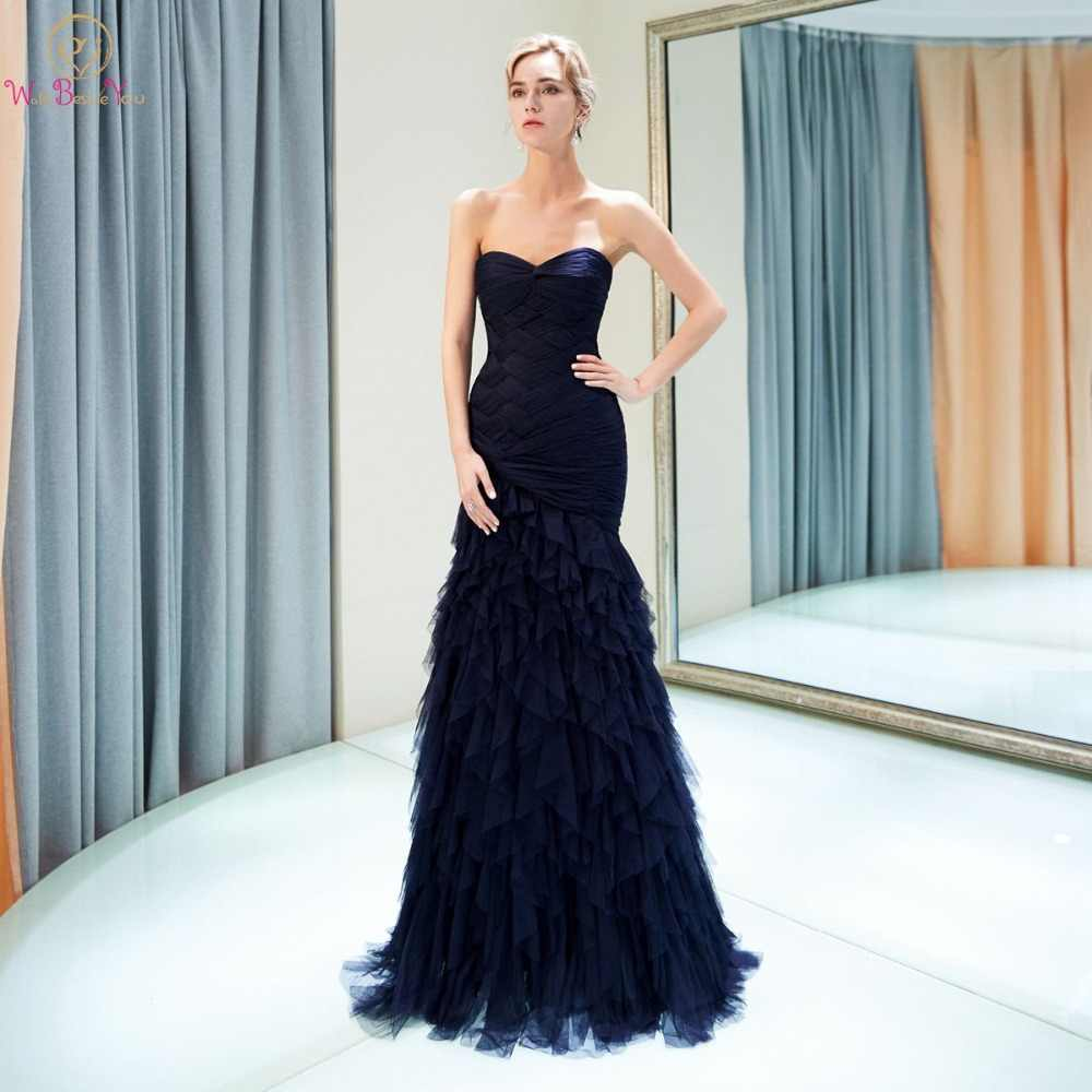 Walk Beside You Navy Blue Evening Dresses Long 2018 Sweetheart Chiffon  Tulle Mermaid Pleats Ruffles Robe 81d078004f5c