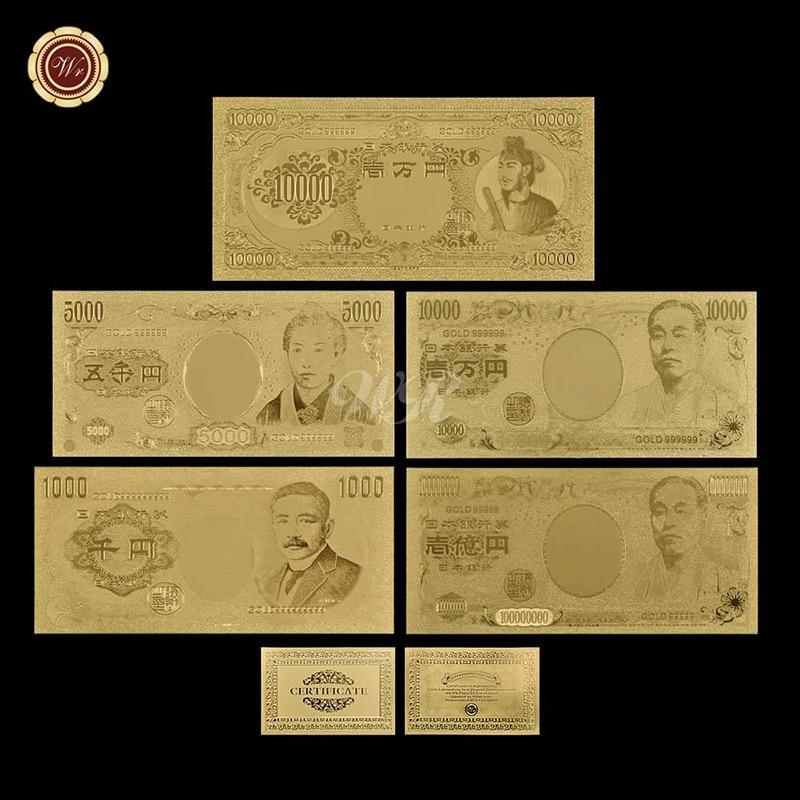 4+1Pcs/lot 2004 Year Japan Gold Banknote Set+1958 Year Japan 10000 Yen Shoto Kutaishi OLD Gold Banknote Gold 999999