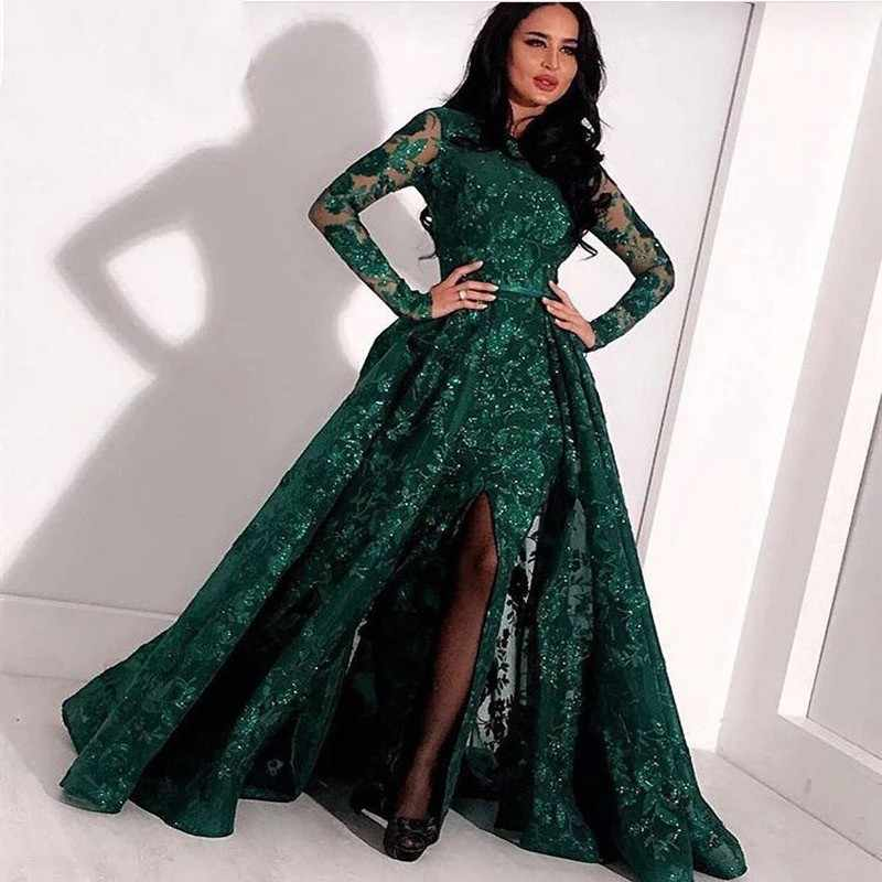 f257cc99ef3e ... Green Long Evening Gown Lace Beaded Slit Dubai Kaftan Saudi Arabic  Elegant Formal Dress Long Sleeves