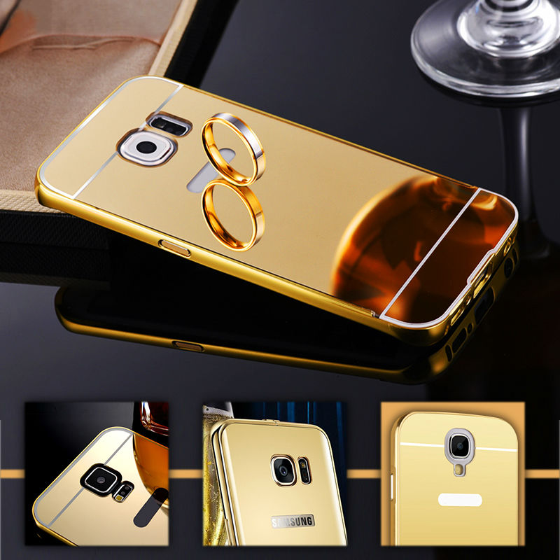 For Samsung Galaxy S5 S3 S4 SAMSUNG S6 S7 Note 3 2 4 5 Case Grand Prime Luxury Aluminum Frame + Mirror Acrylic Phone Cases Cover