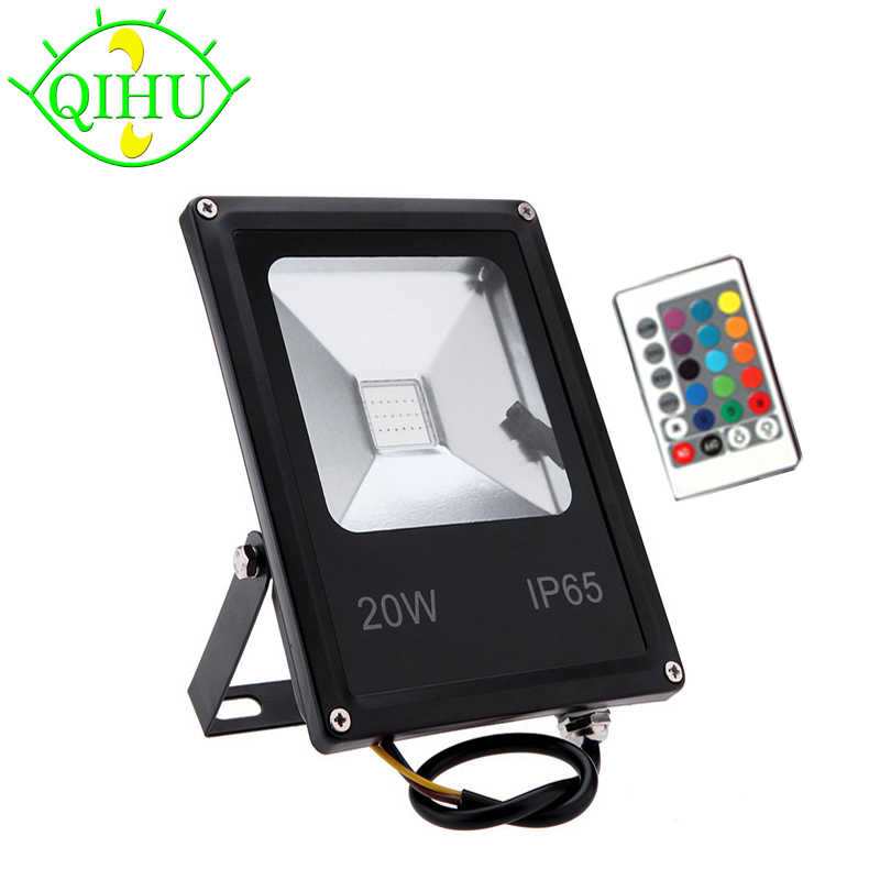 LED Floodlights 10W 20W 30W 50W RGB Flood Light With Remote Controller Reflector IP65 Outdoor Light  AC110V 240V  Garden Lamp