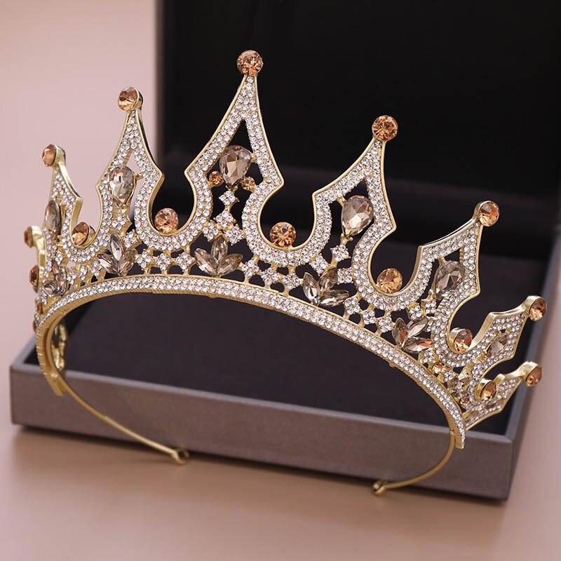 Luxury Vintage Crown Tiaras Rhinestones Royal Bridal Queen Princess Pageant
