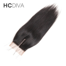 HCDIVA Full Health Natural Color 100% Non Remy Human Hair 8″-18″ Swiss Lace Middle Part Lace Closure Straight Brazilian Hair