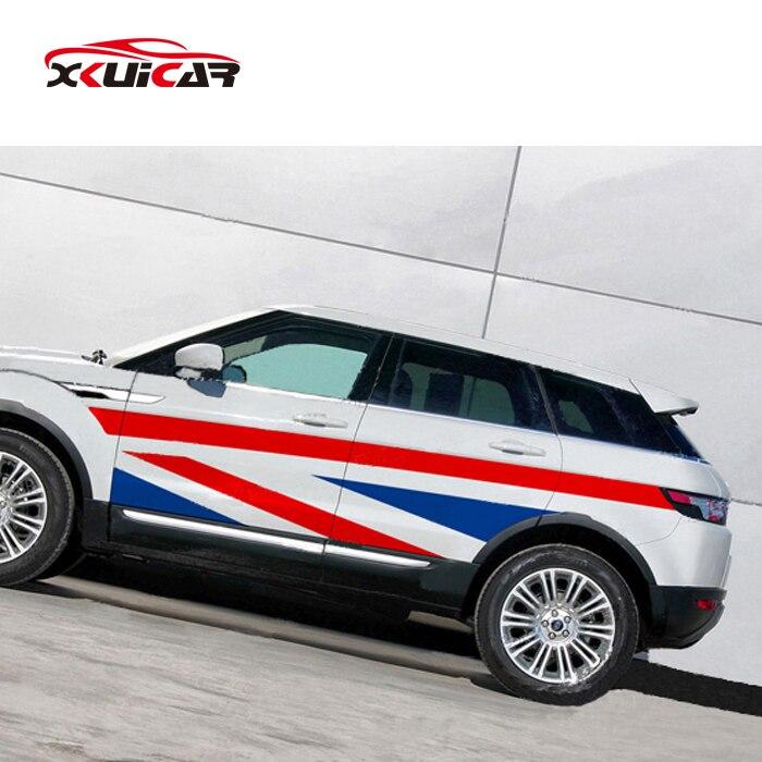 Autocollants de carrosserie de voiture style drapeau britannique tirer fleurs pour Land Rover Evoque \ Discovery 4 \ Freelander 2 \ Aurora