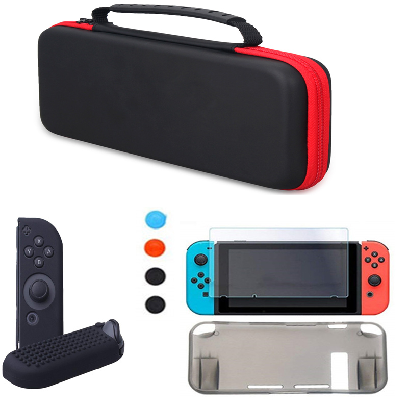 Nintend Switch NS Console Carrying Storage Bag TPU Grip Case Skin Shell High Light Screen Protector Silicone Case Cap 8 In 1 KitNintend Switch NS Console Carrying Storage Bag TPU Grip Case Skin Shell High Light Screen Protector Silicone Case Cap 8 In 1 Kit