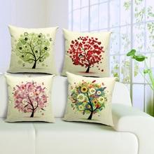 Season Life Tree Cotton Linen Colorful Decorative Pillow Case Chair Square Waist and Seat 45x45cm Pillow Cover Home Textile