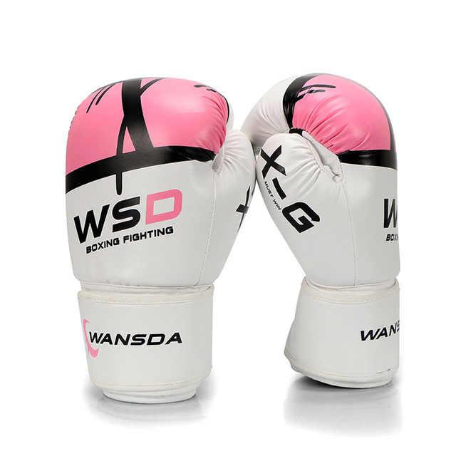 Tinju Sarung Tangan Wanita Pria MMA Muay Thai Melawan Sarung Tangan Luva De Box Sarung Tinju untuk Training8 10 12 14 16 Oz