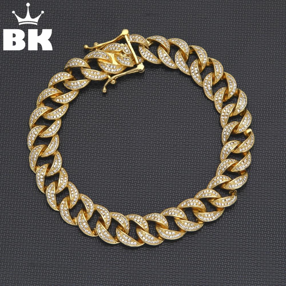 925 Silver Cuban Bracelet Micro Pave Cubic Zircon Gold Finish Hip Hop Miami Cuban Link Bracelet 8mm 10mm 12mm 14mm stainless steel miami curb cuban bracelet mens hip hop thick gold filled cuban link heavy bracelet 23cm