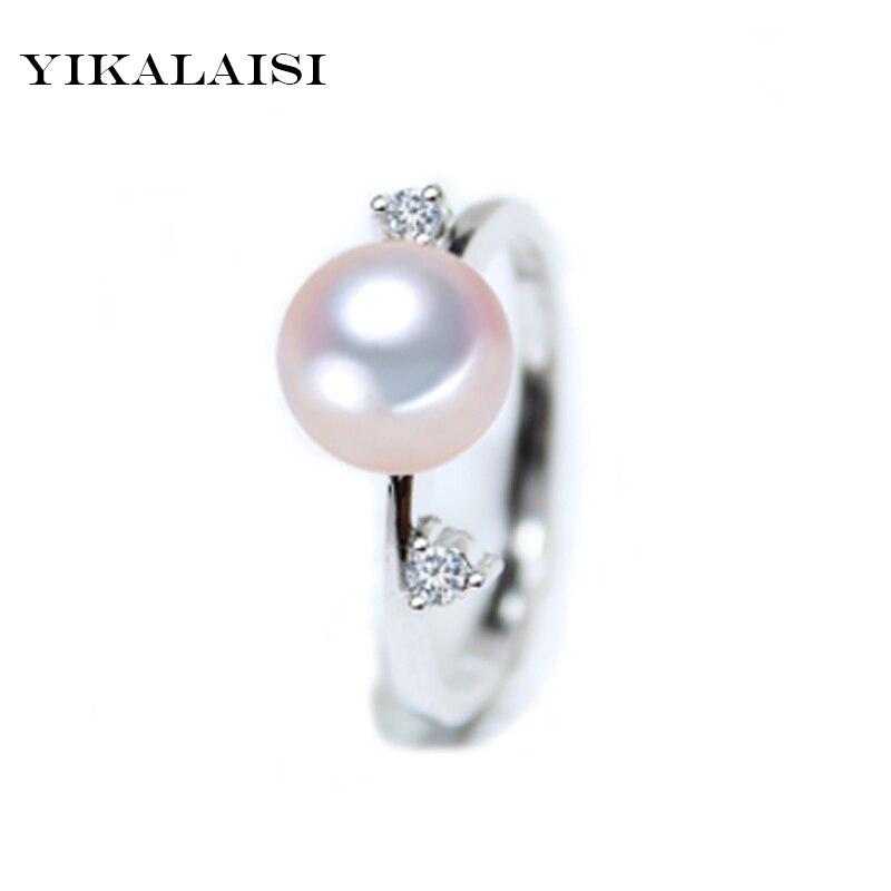 YIKALAISI 2017 Perlové šperky Módní 100% přírodní 7-8 mm Sladkovodní perlové prsteny 925 stříbrných šperků prsten svatební prsten