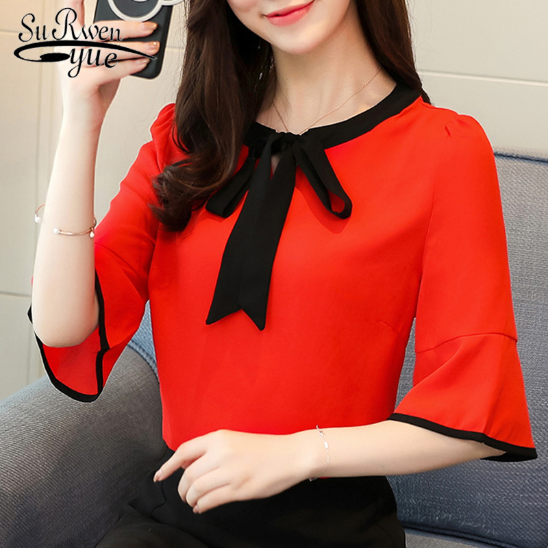 new fashion 2019 Chiffon women   blouse     shirt   plus size flare sleeve red women's clothing bow o-neck feminine tops blusas D619 30