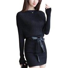 Для женщин Платья-свитеры тонкий рукав «летучая мышь» Bodycon Платья для женщин эластичные платье краткое черный вязаное платье vestidos с поясом