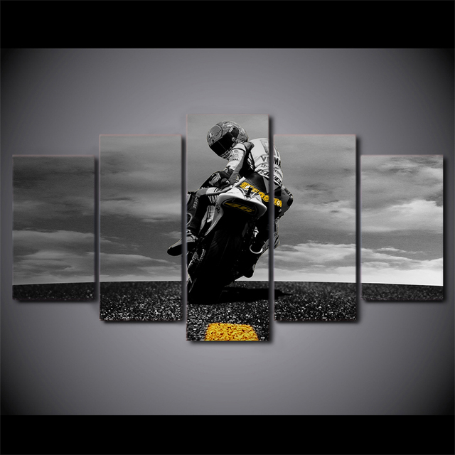 5 Piece Canvas Art Motorcycle Poster Painting Framed Wall Pictures Living Room Modular Ny-6625a