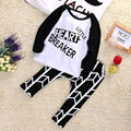 2pcs set!!Infant Baby Boys Girls  letter T-shirt +black long Pants Outfit Set Sleepwear Pajamas Clothing