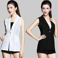 Fashion Sleeveless Jackets Vests For Women Office Lady Elegant Long Outerwear Casual plus size 4xl