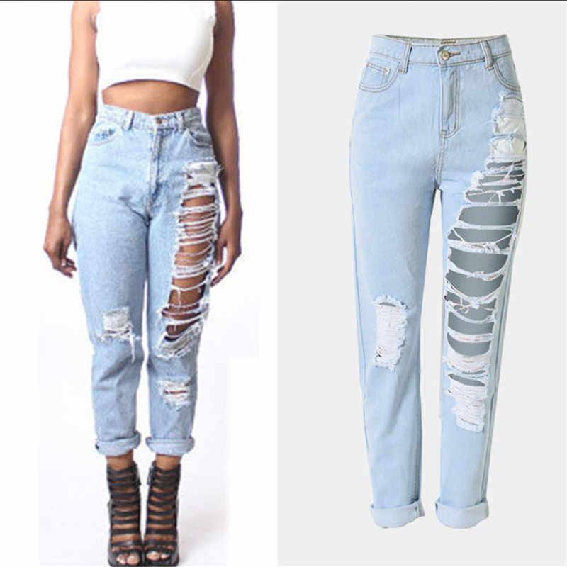 4c9bd38182edcb Plus Size Ripped Jeans for Women mom boyfriend Pants Elasticity Black Hollow  Out High Waist Jeans