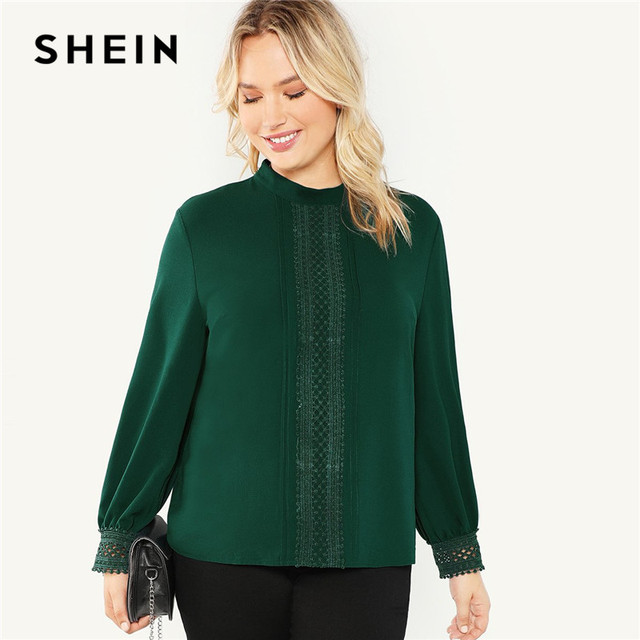b22357004785 SHEIN Plus Size Green Stand Collar Lace Applique Women Solid Blouse 2018  New Office Lady Long Sleeve Autumn Workwear Top Shirts