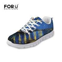 FORUDESIGNS Sonbahar Kadınlar Rahat Düz Ayakkabı Kadın Yıldızlar Gece Baskılı Genç Eğlence Bayanlar Ayakkabı için Nefes Flats Ayakkabı