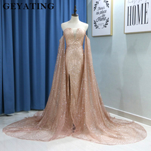 Glitter Rose Gold Sequin Mermaid Prom Dresses with Detachable Long Sleeves Wine Red Evening Formal Gown Split V-neck Court Train cheap Off the Shoulder Strapless GEYATING Natural Polyester Full Trumpet Mermaid Illusion Sequined Floor-Length